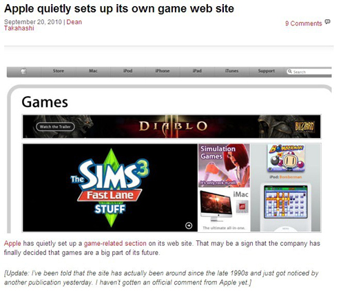 Apple sets up game web site