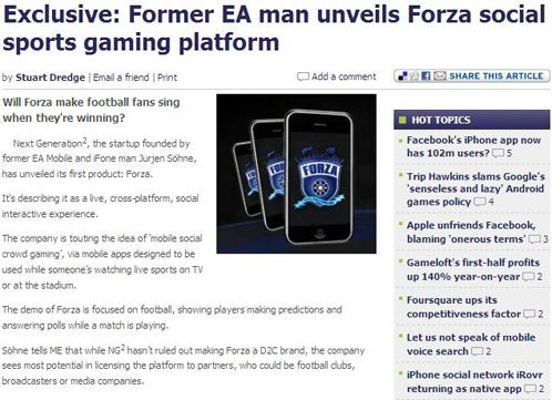 Forza social sports gaming platform
