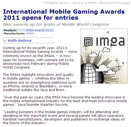 IMGA 2011 opens for entries