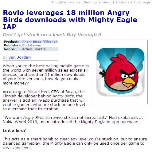 Angry Birds download with Mighty Eagle IAP