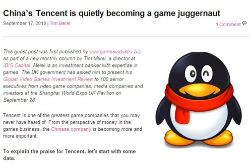 Tencent is becoming a game juggernaut