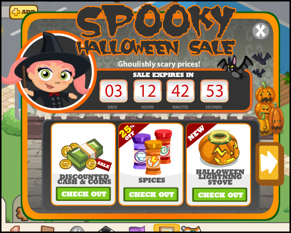 Cafe World - Spooky Halloween Sale