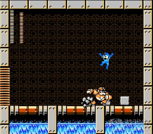 《洛克人》中的BOSS房通常不加修饰,也没有躲避BOSS Robot Master进攻的地方