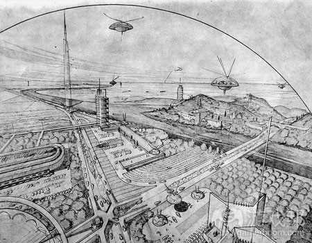 """《银河战士》中的概念艺术与Wright的空间设计不谋而合,""""广亩都会""""就是佐证"""