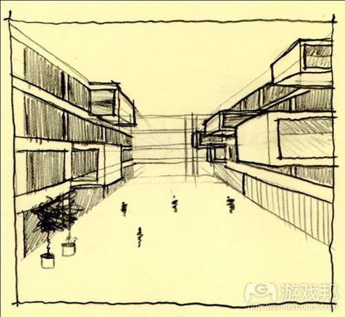 突出的避难所空间就是教室。这样的设计特征与作为游戏设计教学场所的学校十分相称