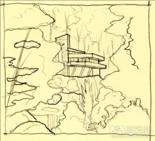 落水别墅位于西宾夕法尼亚的树林中(from gamasutra.com)