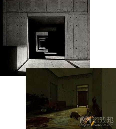 阴影制造成的未知危险可以激发玩家的恐惧感。这种关卡设计会使玩家无论遇到什么危险,其恐慌妄想始终填满整个空间