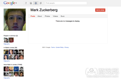 Facebook CEO's Google+ account(from techcrunch)