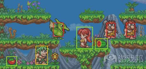 绿色矩形是安全物品的触碰范围,红色矩形是危险物品的触碰范围。黄色矩形内的是玩家(from devmag)
