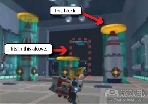 这个牵引波束挑战的目标非常明确,那就是将三个砖块移动最适合它们的凹室里(from gamasutra)