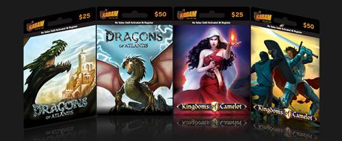Kabam pre-paid cards(from insidesocialgames)