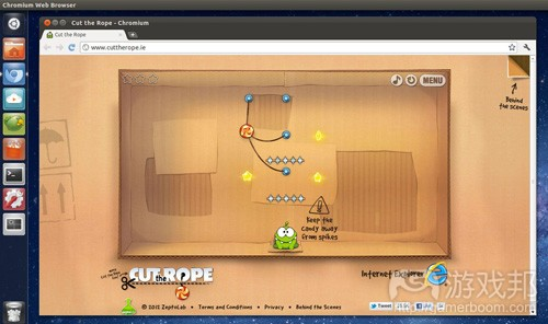 Cut the Rope--browser version(from omgubuntu.co)