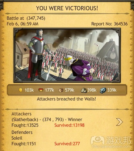 Battle report screen in KoC from from gamasutra.com