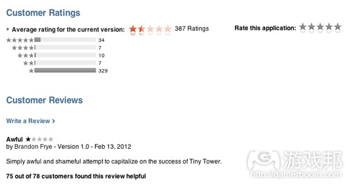 customer rating(from insidemobileapps)