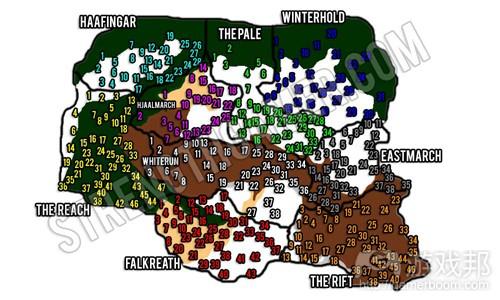 《天际》中的游戏世界面积约37 km²(from gamasutra)