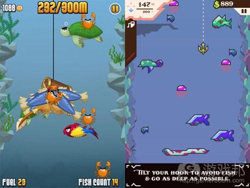 ninja fishing vs ridiculous fishing(from gamasutra)