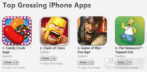 top grossing iphone apps(from gamezebo)