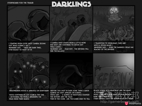 storyboard for Darklings(from gamedev)