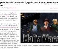 Digital Chocolate就mafia wars名称侵权案正式起诉zynga