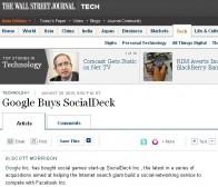华尔街日报:Google收购再出重拳 SocialDeck归入麾下