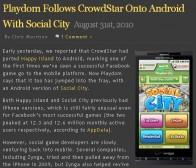 继CrowdStar之后playdom也推出android版游戏Social City