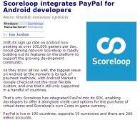 PocketGamer消息:Scoreloop平台增加贝宝交易功能