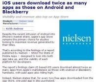 尼尔森调查:iOS用户应用下载量是Android等用户的2倍