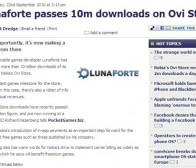 Lunaforte公司Ovi Store应用下载量达1000万次