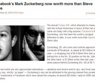 Facebook公司CEO马克·扎克伯格财富超苹果乔布斯