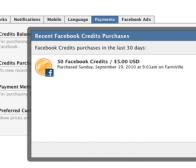 社交网站Facebook开始显示用户Credits购买记录
